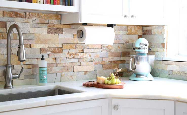 Norstone Natural Stone Kitchen Backsplash with neutral toned thin stacked stone veneer panel Aztec
