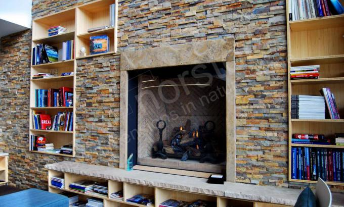 Ochre Blend Stacked Stone Rock Panel Fireplace