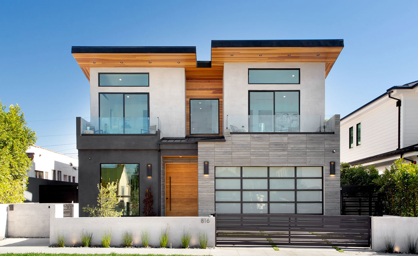 Large Format Exterior Lavatone Cladding by Norstone on a Residence in West LA