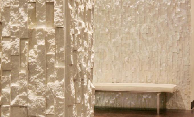 Quartz Stone Veneer : White quartz stacked stone veneer for feature walls