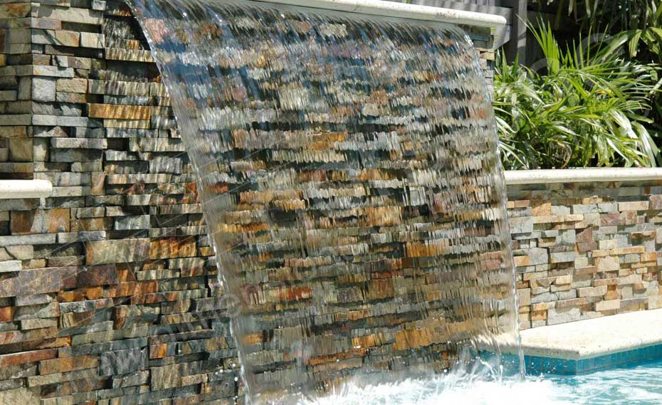 Ochre Blend Rock Panels used on a pool Water Feature