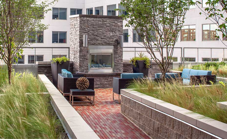 Exterior Natural Stone Fireplace Multi Family Development Washington DC
