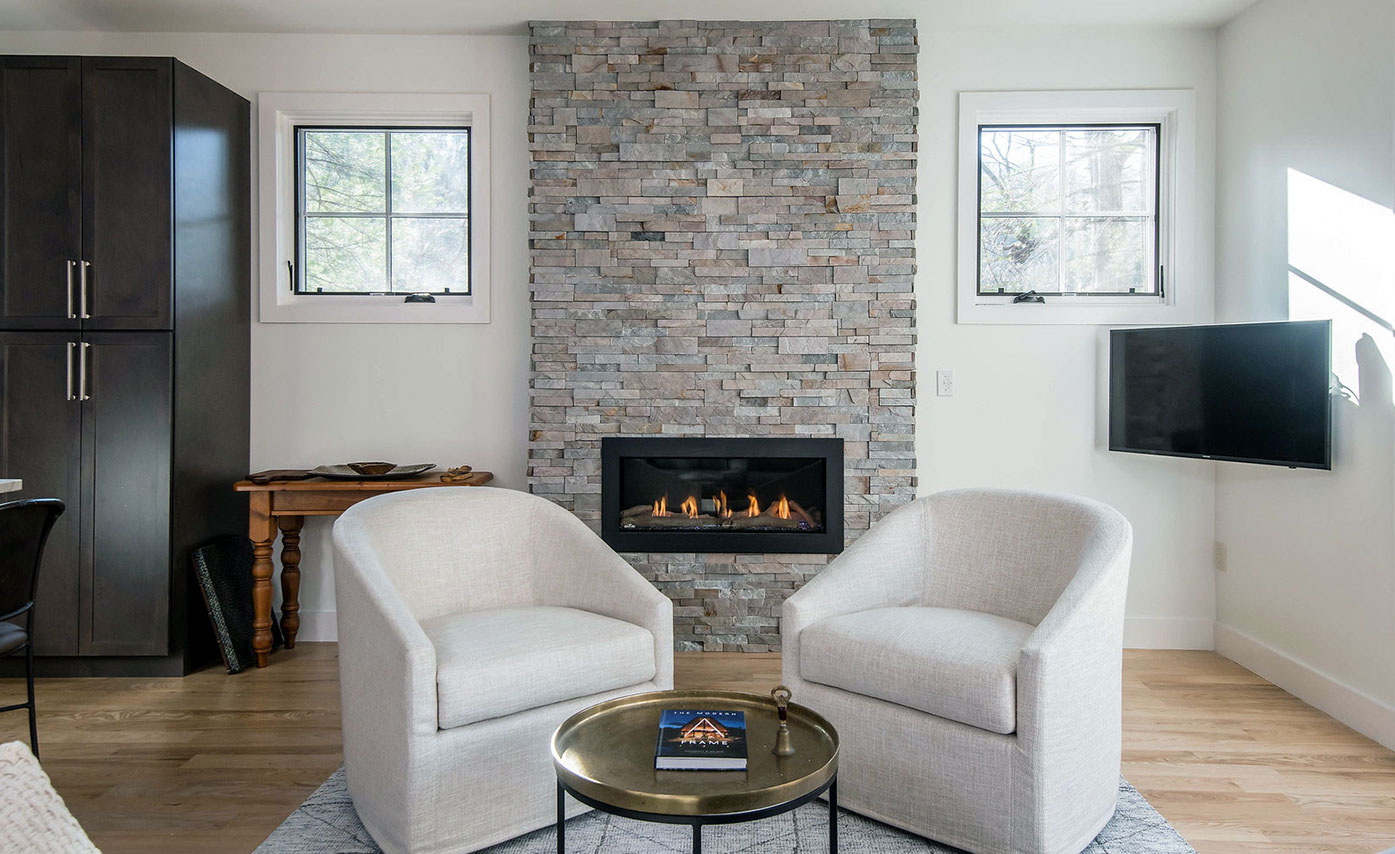 Natural Stacked Stone Veneer Fireplace Ideas