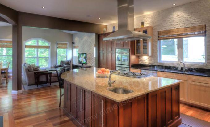 stacked stone veneer backsplash for a kitchen
