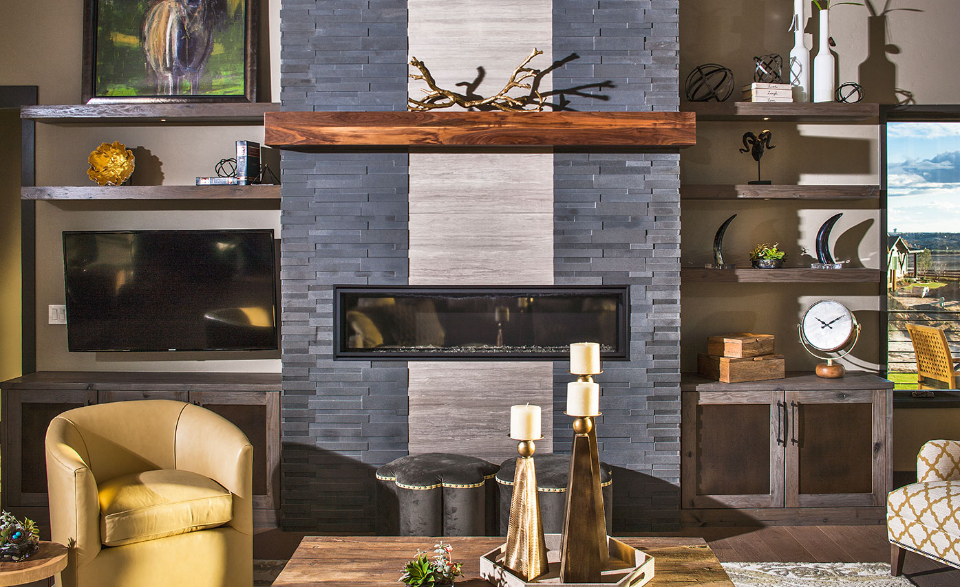 Natural Stacked Stone Veneer Fireplace Stone Fireplace Ideas