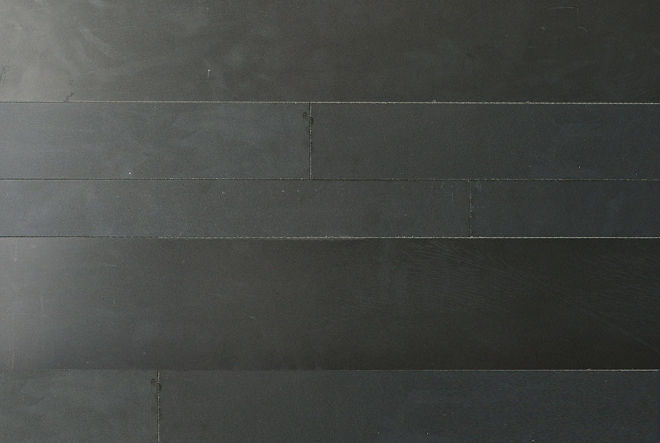 Large Format Wide Strip Veneer made from Ebony Basalt Stone - Cross section