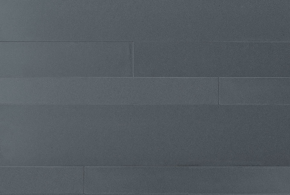 Large Format Wide Strip Veneer made from Ash Grey Basalt Stone - Cross section