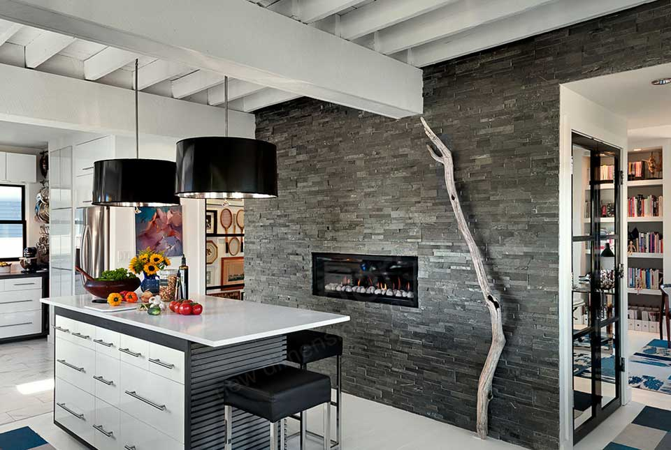 Charcoal Stacked Stone Veneer | Rock Panels for Walls by Norstone