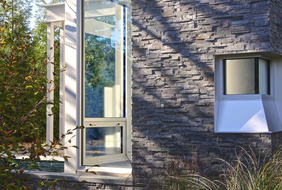 Earthy Grey Stacked Stone Veneer Panel used on Exterior home in Hamptons New York