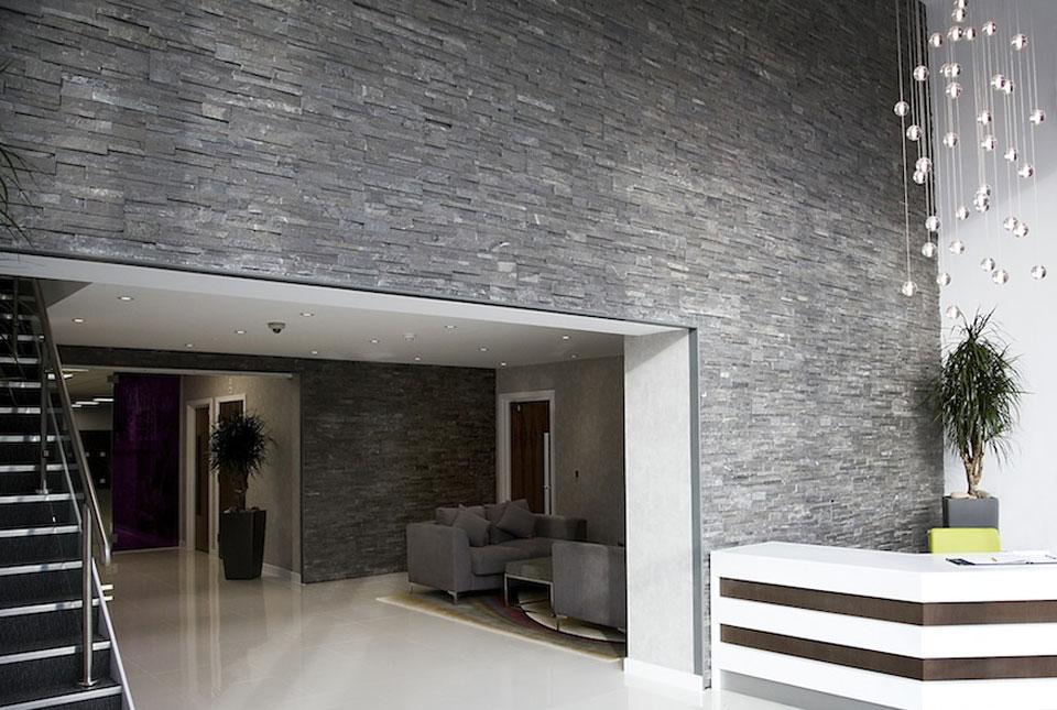 Charcoal Slim Line Interior Lobby Wall - Lightweight Stone