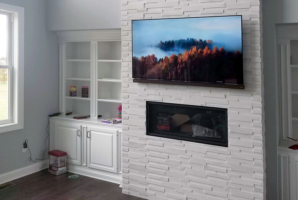 Aksent 3D White Marble Fireplace Veneer Installation
