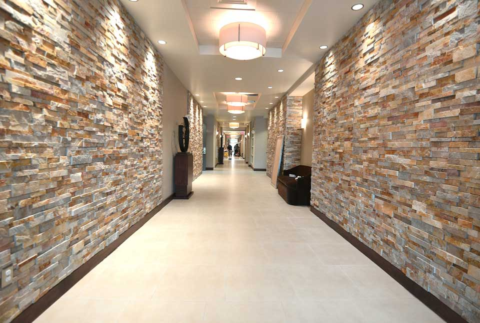 Gold Stacked Stacked Stone Hallway