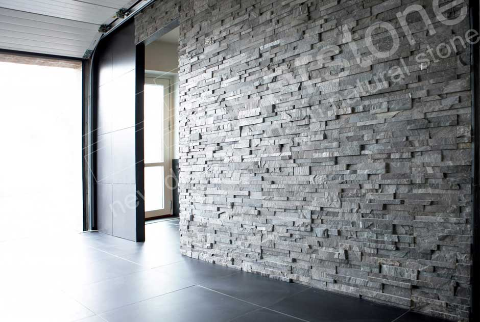 Textured Stone Tile On Interior Feature Wall in Austin