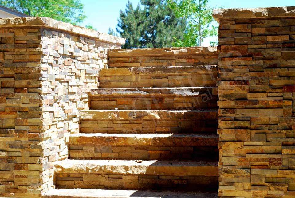 Natural Stacked Stone Columns