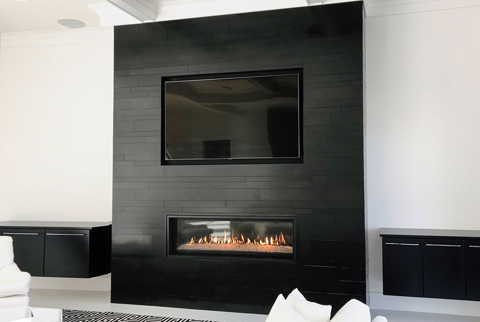Ultra Modern Black Basalt Stone Fireplace with Norstone Building Stone PLANC