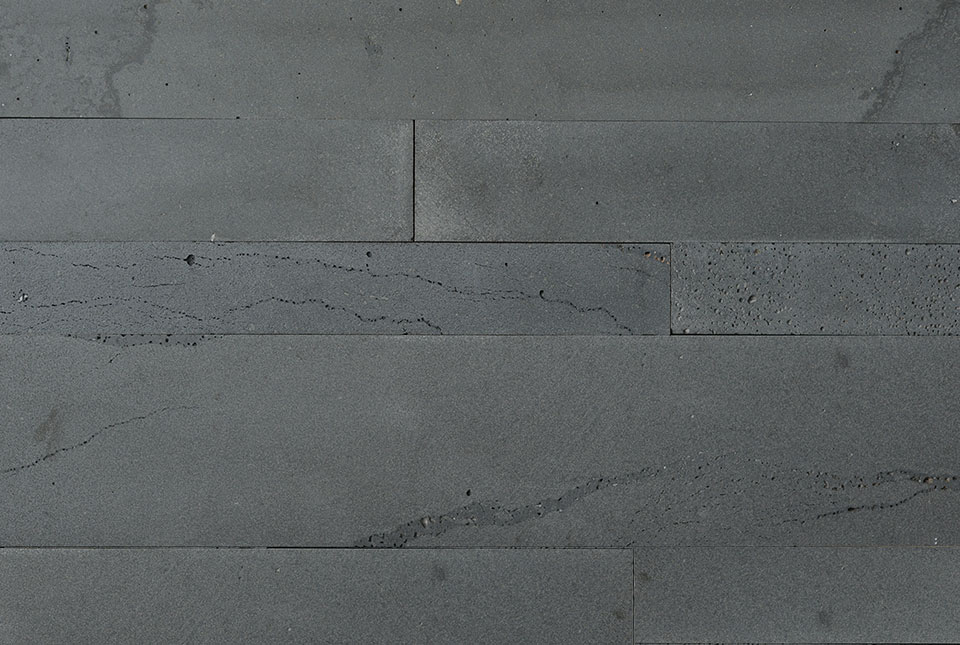 Graphite Lava Stone Plank Wall Cross section