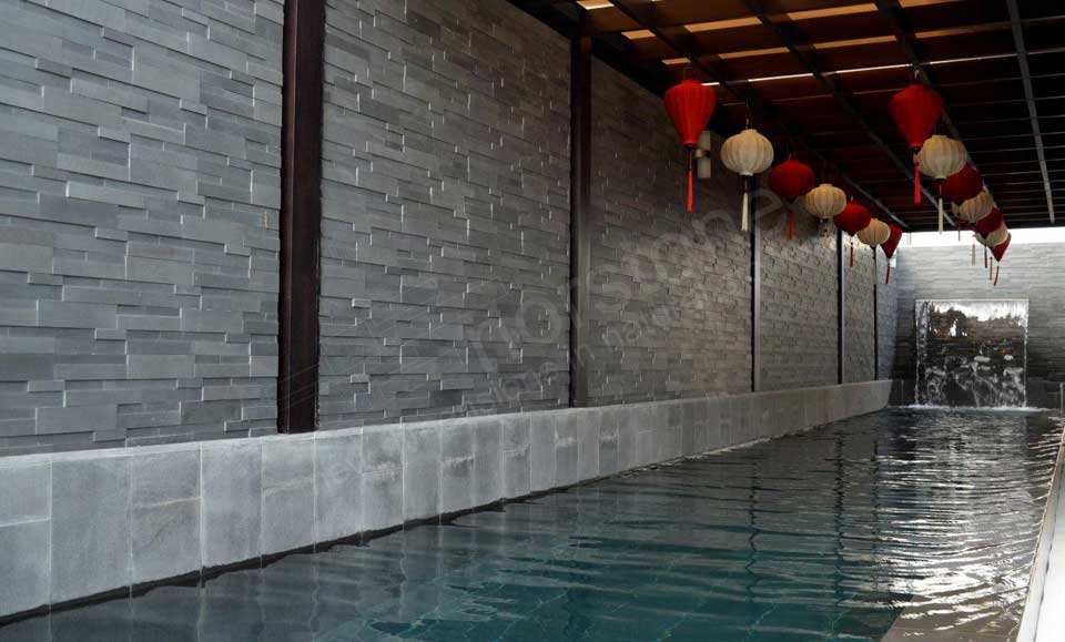 Grey Ledgestone Walls for Pools