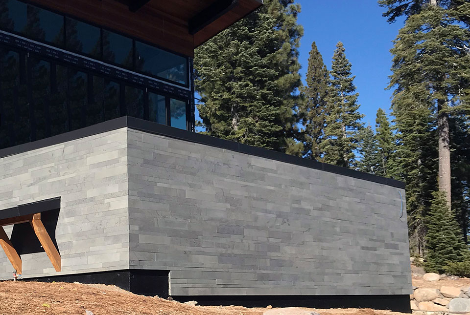 Platinum Grey Building Stone Planks Used for a Residential Facade