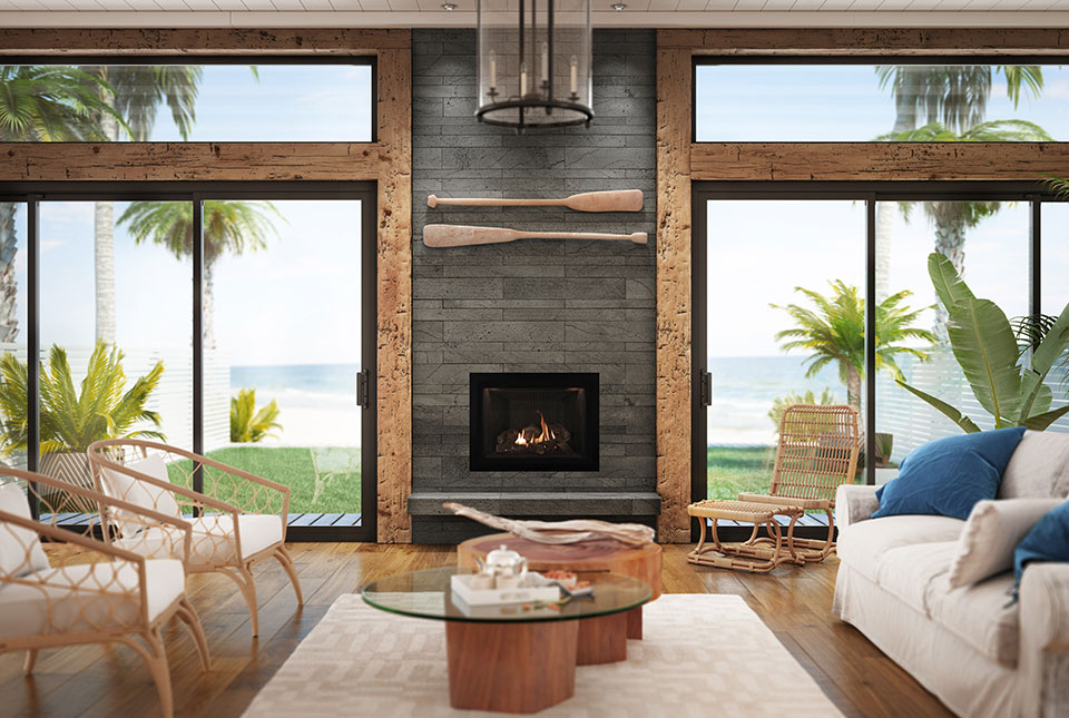 Platinum Grey Lavastone Planc Fireplace Custom Project with Reclaimed Wood Trim