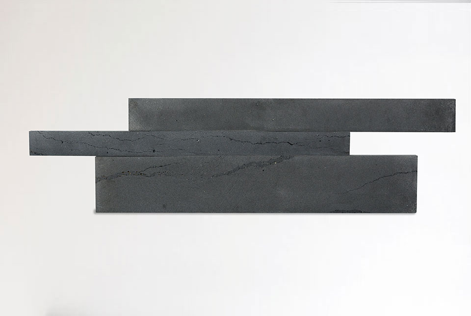 Graphite Lava Stone Planks In Left-Facing Staggered Formation
