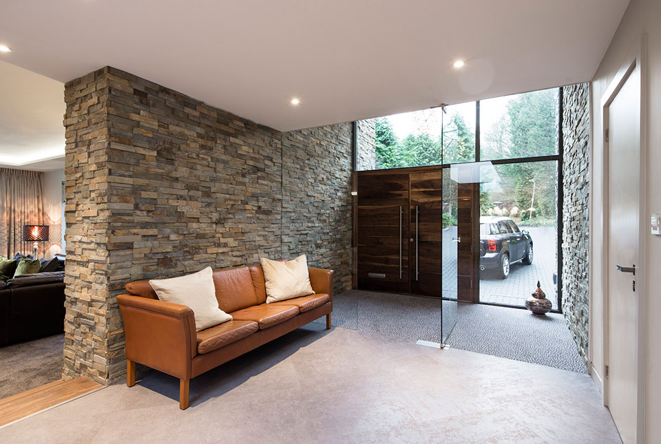 Slim Line Ochre Blend Panels on a textured Entryway Wall