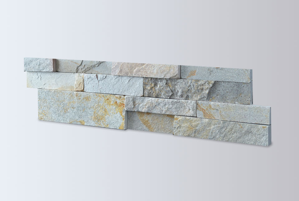 Silver Grey Stacked Stone Hallway