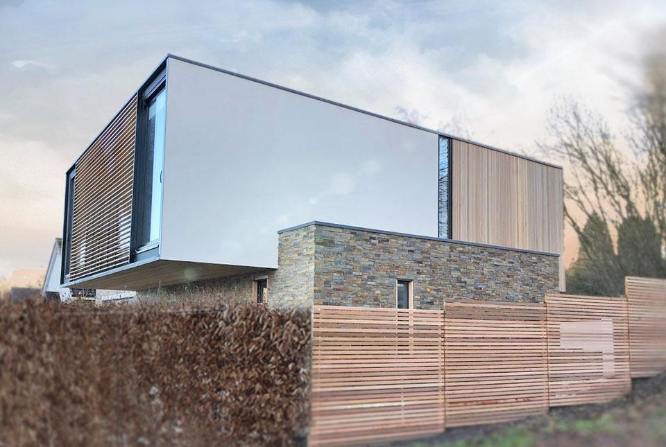 Slim Ochre Wall Panels on an Exterior Facade