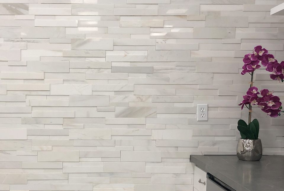 Close Up of Norstone 3D White Marble Feature Wall