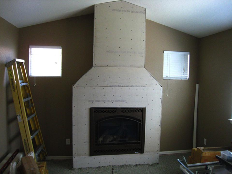 How to Install Stacked Stone Veneer Progress Shot - Cement Board Prep