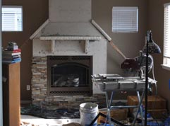 How to Install Stacked Stone Veneer Panels - Progress Shot - Norstone Fingerjoint Corner Panels Installed