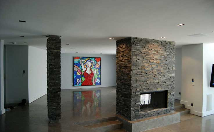 Charcoal Stacked stone for Fireplace in New Jersey