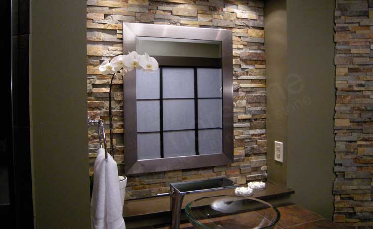 Natural stacked stone backsplash tiles for kitchens and Bathroom designs with tile backsplashes