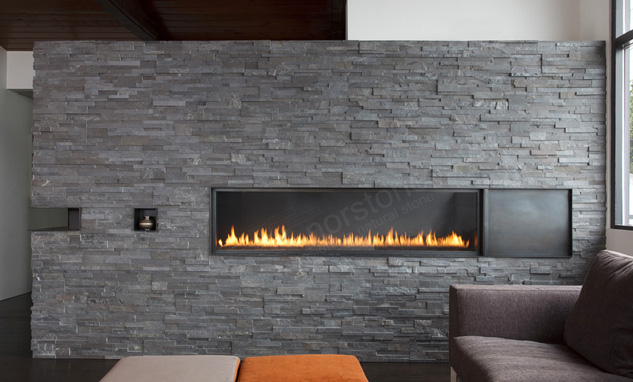 Natural Stacked Stone Fireplaces