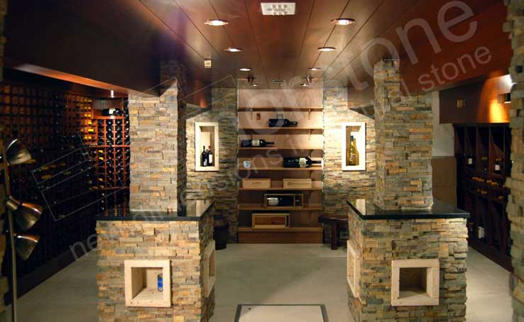 Interior Rock Wall Cladding used on columns in an underground Wine Cellar