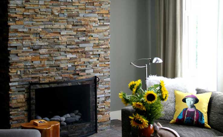 image result for stacked stone veneer fireplace - How To Stone Veneer Fireplace