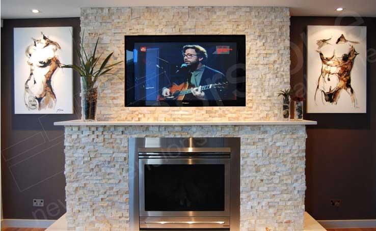 Norstone Natural Stone Veneer Fireplace TV Surround