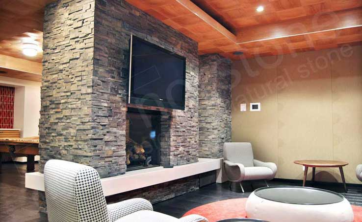 Natural Stacked Stone Veneer Fireplace | Stack Stone Veneer Fireplaces