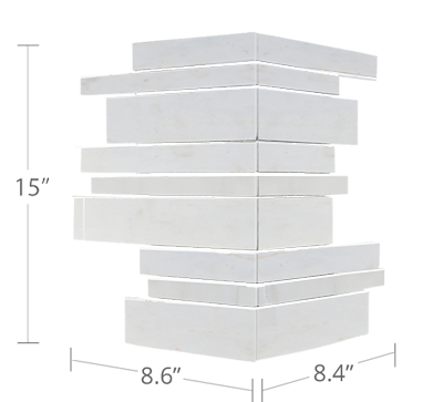 Lynia White Marble Mosaic Wall Tile Diagram