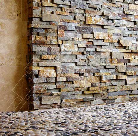 Ochre Shower Stone Walls in Charlotte Residence