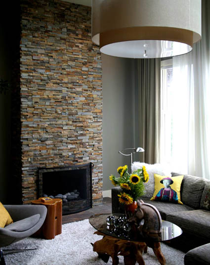 Norstone Ochre Ledgestone Fireplace in Washington DC District of Columbia