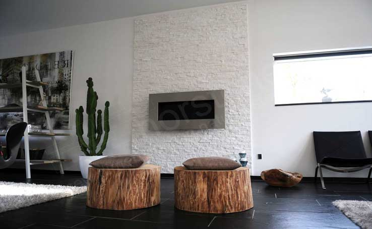 White Stacked Stone for Fireplace Surround in Dallas