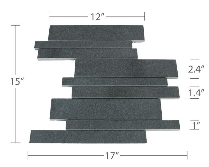 Mesh Backed Tile - Norstone Basalt Interlocking