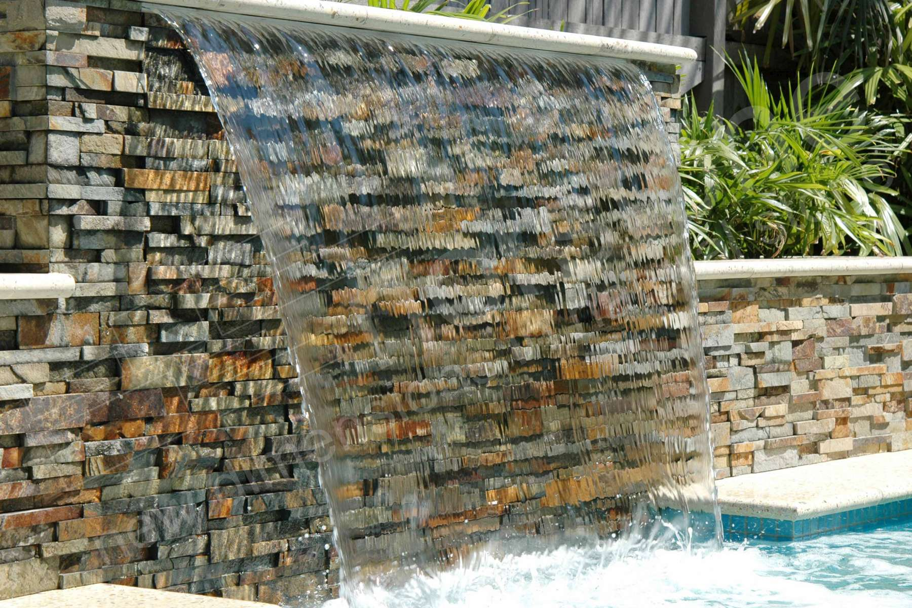 Ochre Stacked Stone Sheer Waterfall Pool Feature