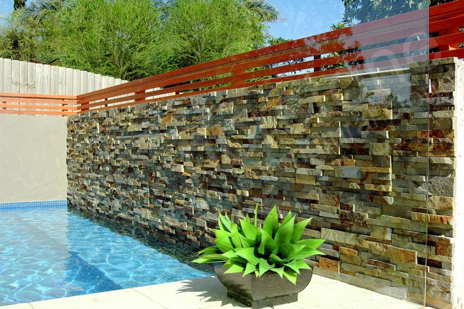 Norstone Stacked Stone submerged in a pool application