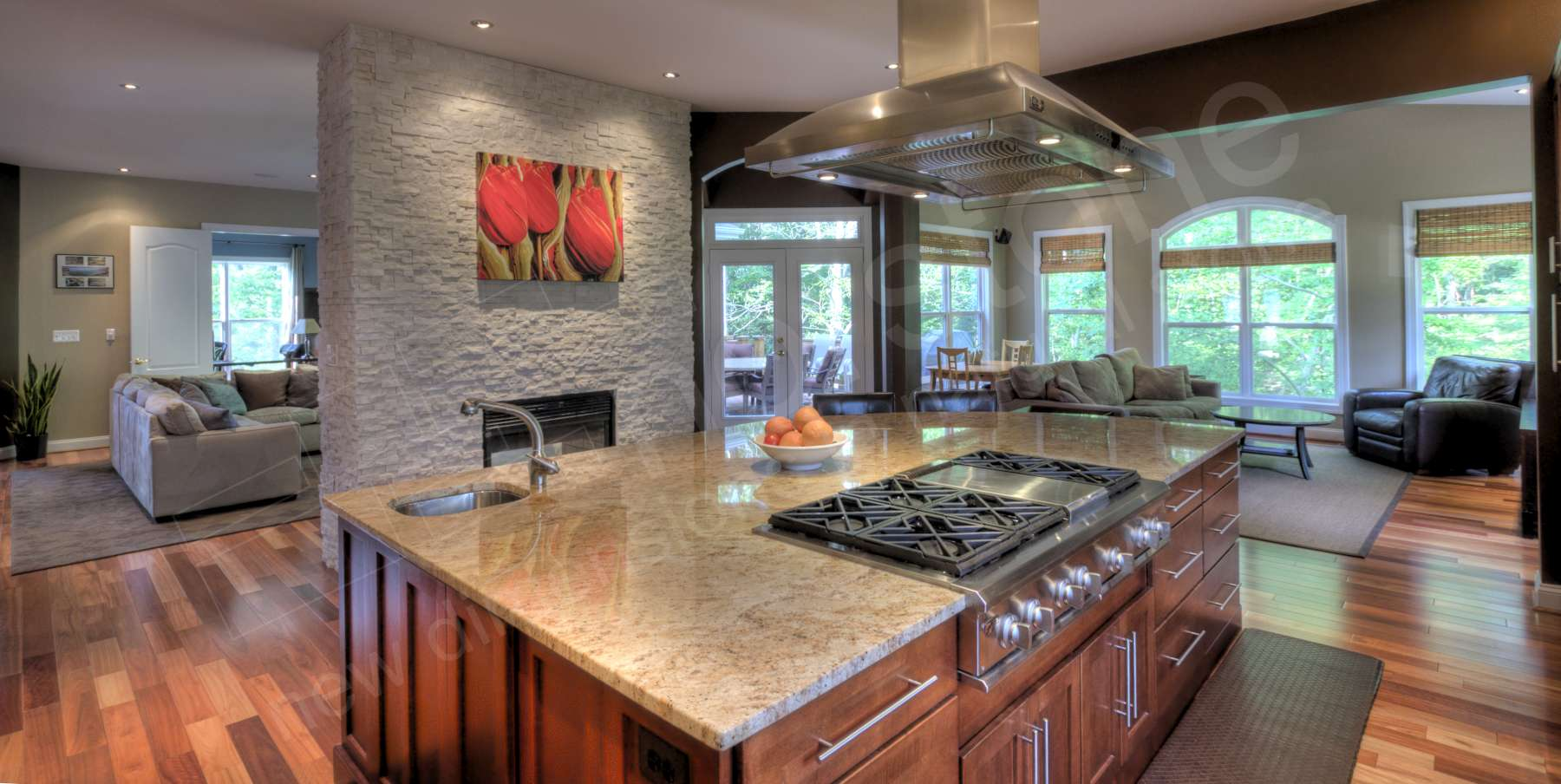 white stacked stone backsplash virginia