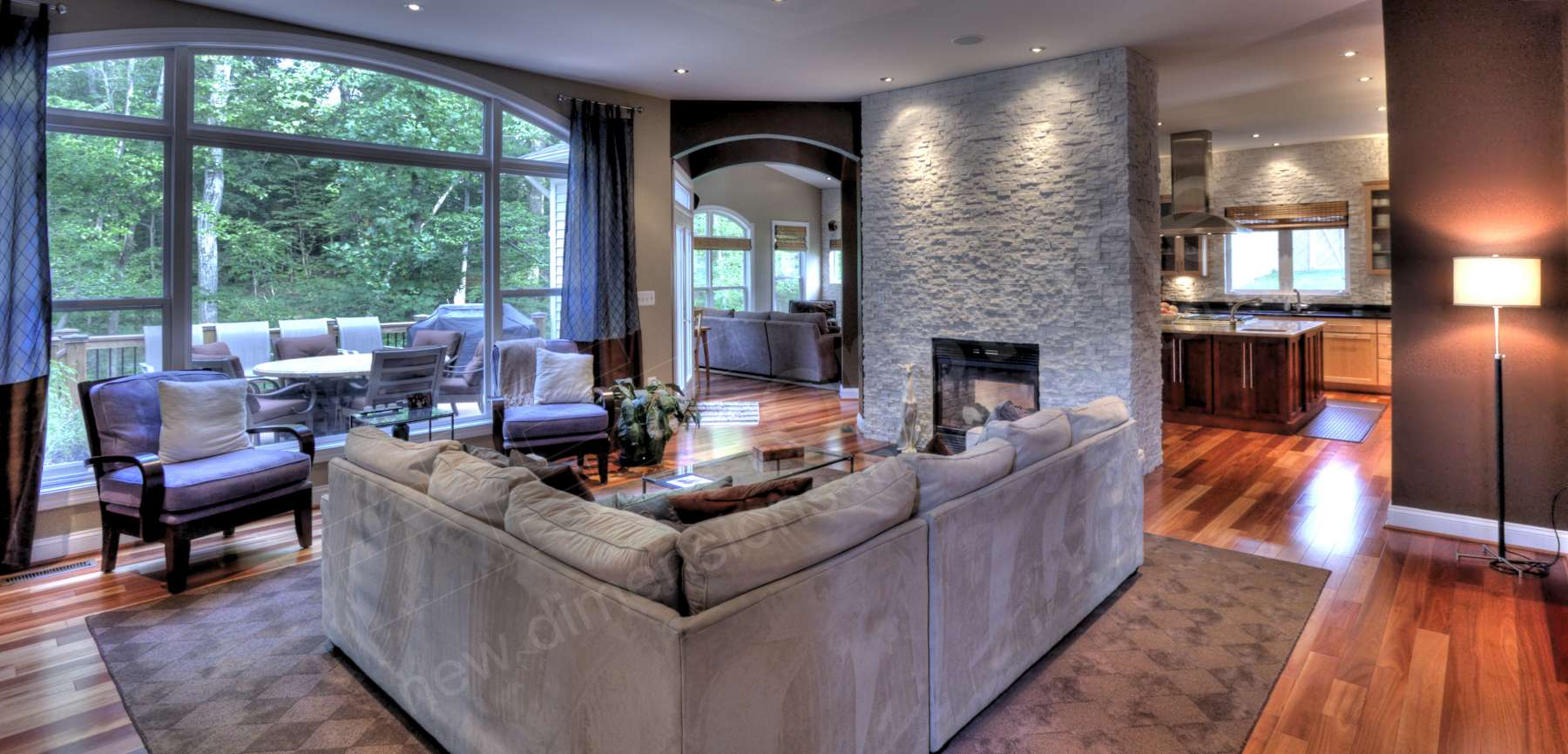 White Stacked Stone Firepace Living Room