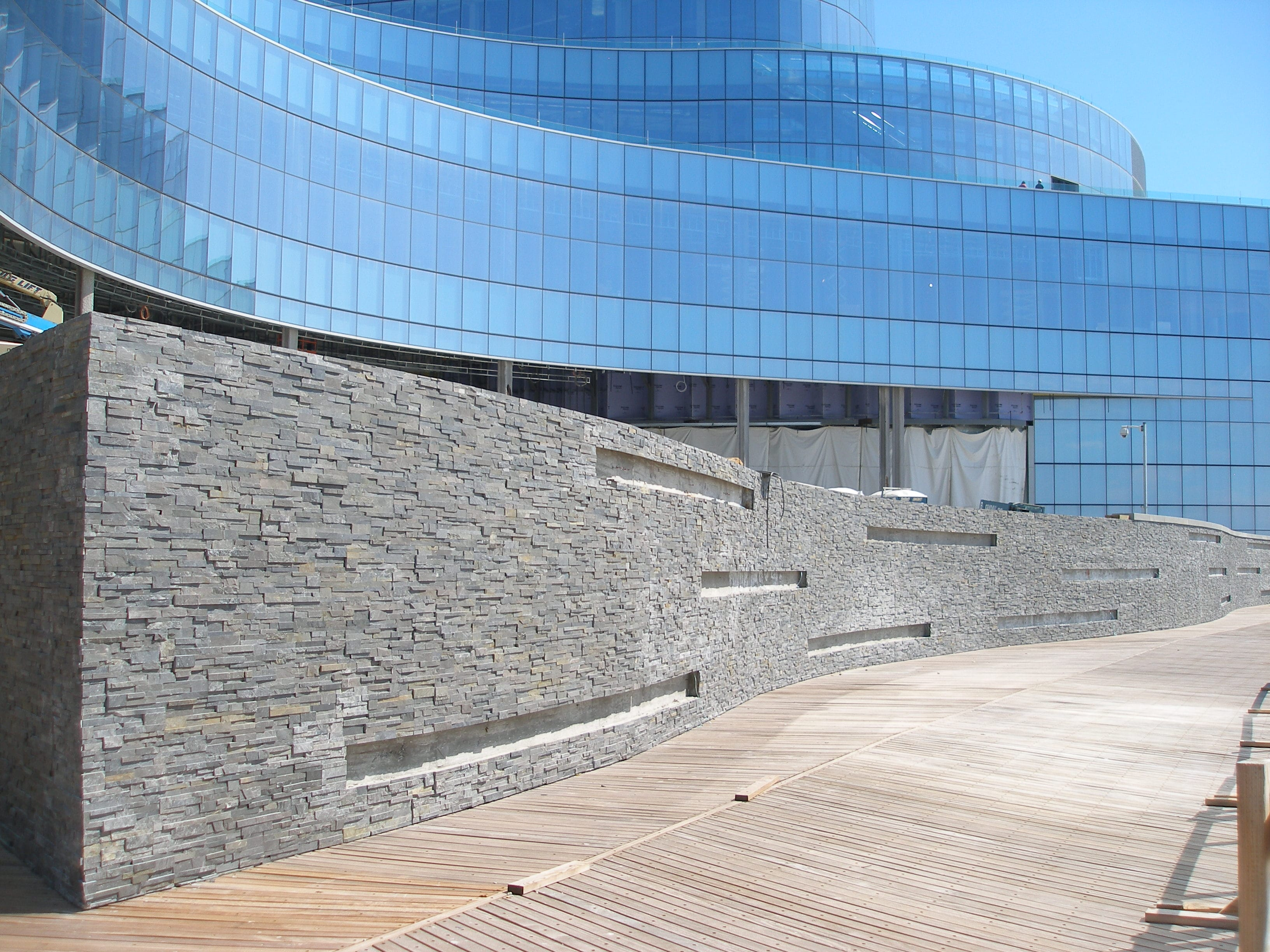 Charcoal stacked stone wall at Revel Casino in Atlantic City