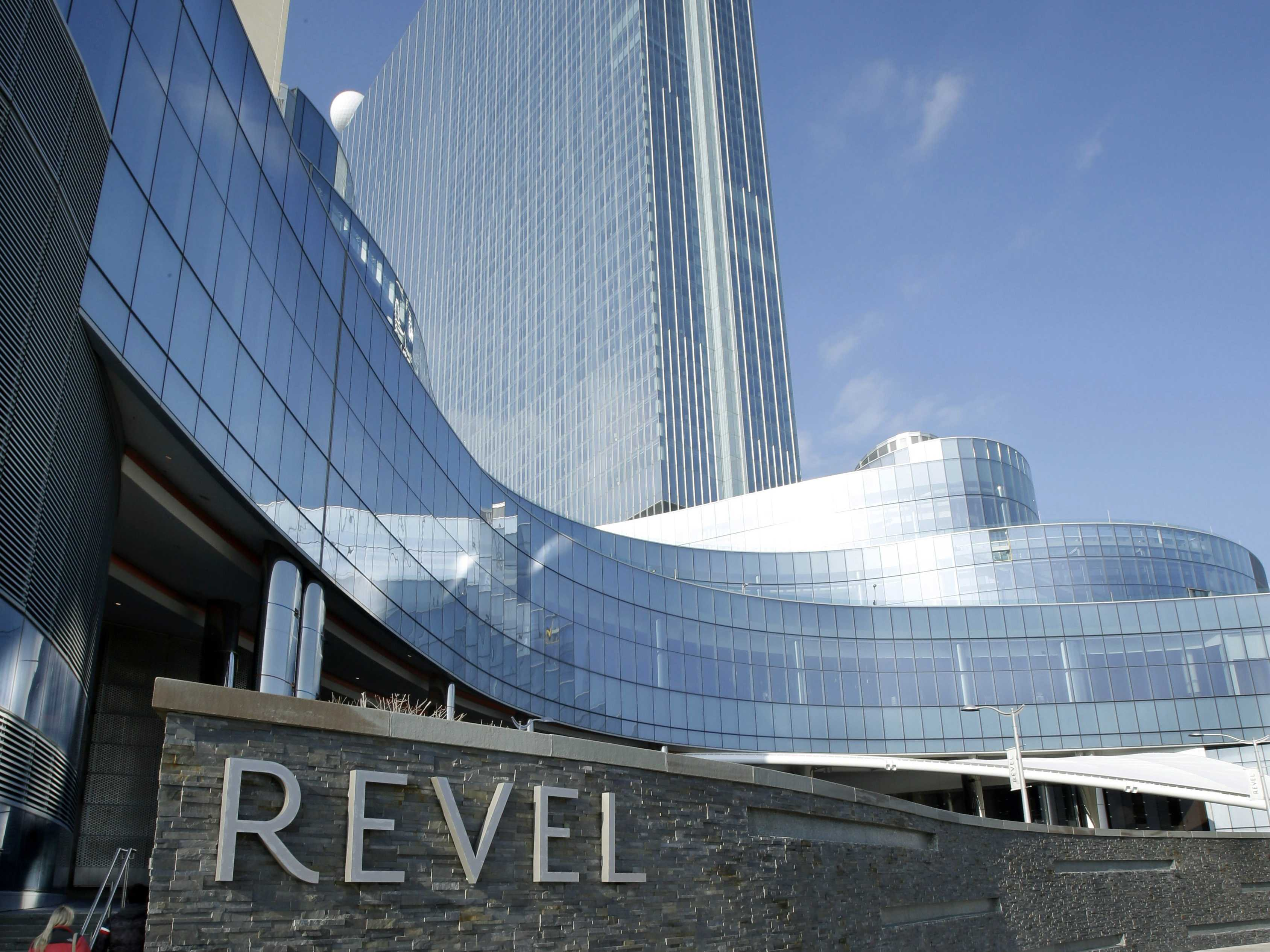 Signage on Revel Casino Stacked Stone Wall in Atlantic City, NJ as seen from the boardwalk