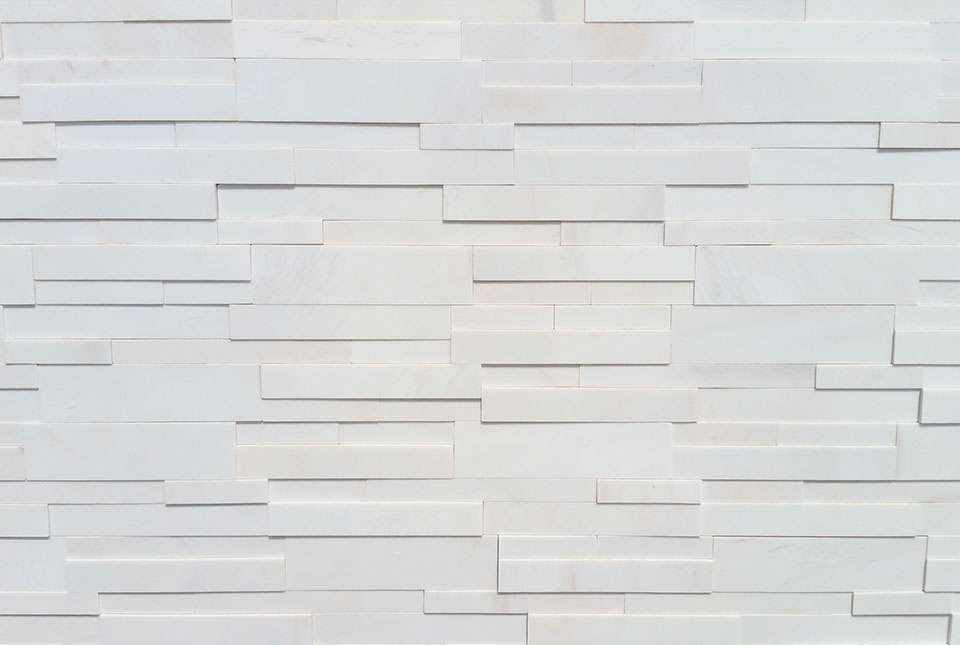 Detail of Norstone Aksent 3D Panel in White Marble