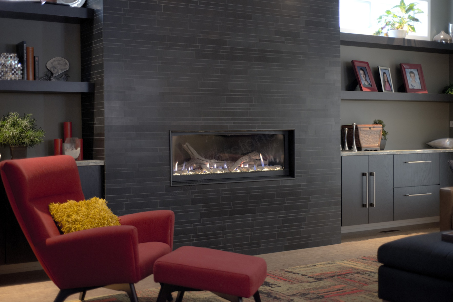 Modern Designed Living Room with Large Black Stone Tile Fireplace